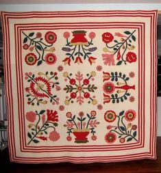 Antique German Embroidered Album Quilt, Pennsylvania