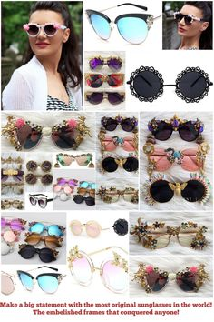 Make a real and fab statement wearing these original sunglasses having their frames wrapped into embellished jewelry and rhinestone! Fashion Brand, New Fashion, Pearl Letters, Luxury Sunglasses, Sunglass Frames, Black Crystals, Women Jewelry, How To Wear, Stuff To Buy