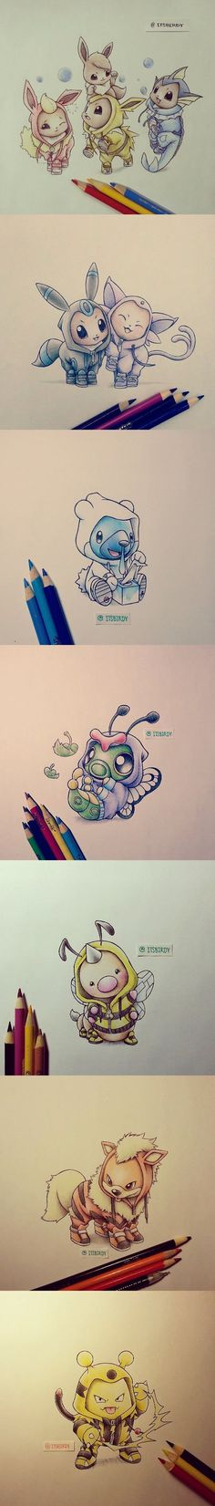 So adorable! Until you realise that the Pokemon are wearing other Pokemon's skin..: