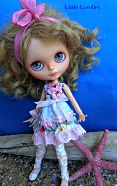 BLYTHE DOLL Dress - OOAK - Frills & Roses.  Romantic roses with pink layered frills by LittleLovelieShop on Etsy