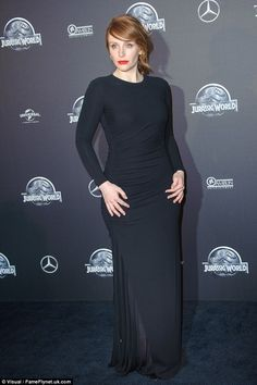 Gorgeous: Bryce Dallas Howard looked classically beautiful in a fitted black gown at the p...