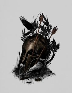 illustration legend helmet warrior crow nature animals bird birds bow arrow leaves dark