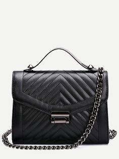 Black Quilted Envelope Bag With Chain. Quilted Shoulder BagsChain ... 8211ffb710