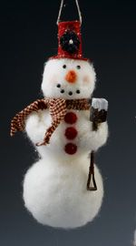 Glistening Felted Snowman!  Quick shortcut style felting project/tutorial that says it can be done in one hour!
