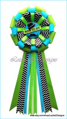 Little Man/Gentleman Hat Mustache Theme Baby Boy Shower Corsage Pin Keepsake - Cold Porcelain Favor Turquoise Green Chevron Ribbon Capia Mum by LezlieZDesigns