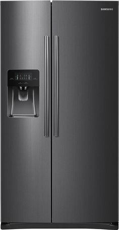 Samsung - 24.5 Cu. Ft. Side-by-Side Refrigerator with Thru-the-Door Ice and Water - Black Stainless Steel