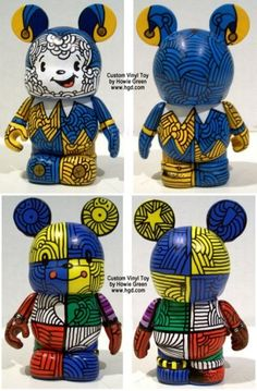 Custom Patchwork LInes Vinylmation Duo 118 by Howie Green