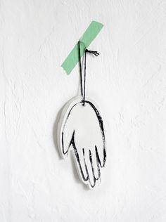Modern Hand Print Ornament