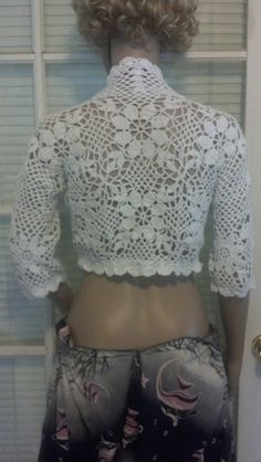 Crocheted Flower Cropped Jacket Made to by HeirloomsbyAntonia