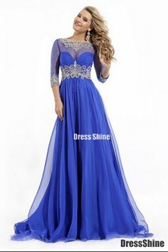 2015 Bateau 3/4 Length Sleeve A-Line/Princess Prom Dresses With Beads And Ruffles - PROM