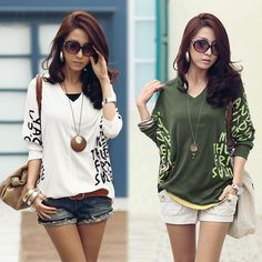 New Fashion New V-Neck Batwing Dolman Short Sleeve Letter Prints Tops Blouses T-Shirts