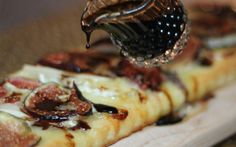 Fresh Fig  and Brie Pizza with Balsamic Drizzle.