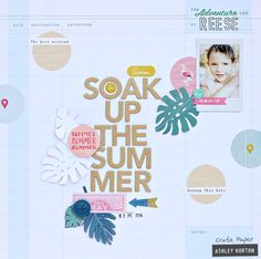 Design Team layout for Crate Paper, using the Oasis collection. 12x12 Scrapbook, Scrapbook Sketches, Travel Scrapbook, Hip Kit Club, Crate Paper, Crates, Embellishments, Diy Crafts, Creative