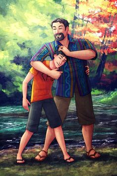 Percy Jackson and Poseidon. Oh I fangirled so hard when I saw this.  I love it!