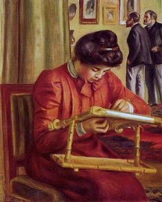 Pierre Auguste Renoir (French painter, 1841-1919) Chistine Lerolle Embroidering