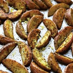 Crispy Roasted Potato Wedges with Parsley, Rosemary, and Lemon. easy snack!