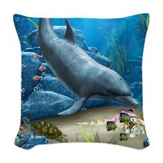 The World Of The Dolphin Woven Throw Pillow
