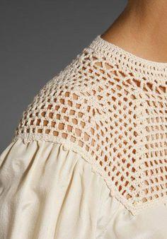 Remate ganchillo para blusa Beyond Vintage Crochet Yoke Blouse in White - Lyst Crochet Yoke, Crochet Fabric, Crochet Collar, Crochet Blouse, Love Crochet, Vintage Crochet, Crochet Stitches, Crochet Designs, Crochet Patterns