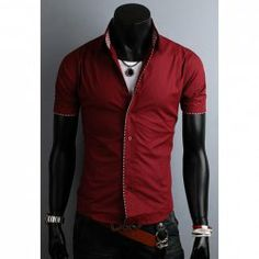 $10.06 Plaid Color Block Sophisticated Short Sleeve Shirt Collar Polyester Shirt For Men