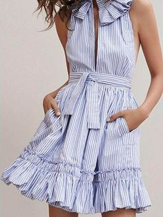 Shop for the Blue Stripe Ruffle Trim Slit Front Sleeveless Skater Dress online now.Choies.com offer the latest fashion women Dresses at cheap prices with free shipping.