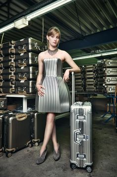 How cool is this dress! It's made from the same material that is used to make RIMOWA suitcases.