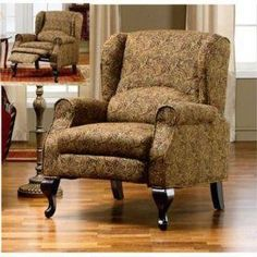 $249 Paisley Wingback Chair - Hidden Recliner, NEW