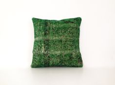 Green Wool Kilim Cushion Cover Ethnic Home Decor Old Pillows Authentic Pillow Throw Pillow Accent Pillow Turkish Kilim Bohemian 16''x16'' by artgrandhome on Etsy