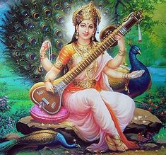 In Hinduism, Saraswati (Sanskrit: सरस्वती), is the goddess of knowledge, music, arts and science. In Hinduism, the peacock is associated with Saraswati, representing benevolence, patience, kindness, compassion and knowledge.