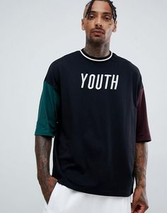 Shop ASOS DESIGN organic cotton oversized t-shirt with youth embroidery and contrast half sleeve. With a variety of delivery, payment and return options available, shopping with ASOS is easy and secure. Shop with ASOS today. Mens Stylish T Shirts, Casual T Shirts, Cool T Shirts, Mens Designer Shirts, Oversized Shirt, Half Sleeves, Shirt Style, Shirt Designs, Asos