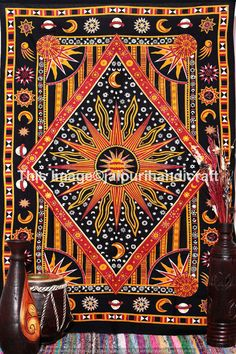Twin Burning Sun Tapestry, celestial from jaipurihandicraft