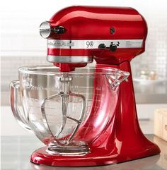want! KitchenAid 90th Anniversary mixer w/glass bowl #red
