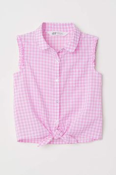 H&M Sleeveless Tie-front Blouse - Pink/white checked - Kids Kids Outfits Girls, Girl Outfits, Fashion Outfits, Beautiful Casual Dresses, African Dresses For Kids, Baby Frocks Designs, Fancy Tops, Frock Design, Tie Front Blouse