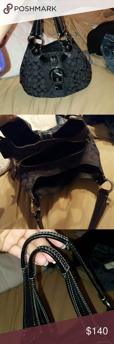 """Black Coach handbag Black Coach handbag. 3 large seperate sections, middle section has a zipper to close. Back section has zipper pocket inside, middle section has 2 small pockets inside, front section has 2 small pockets inside. Minor wear, still in excellent condition! Measures 10""""H (tallest point, shortest is 9"""" in the middle) x 12""""L x 3""""D. Coach Bags Shoulder Bags"""