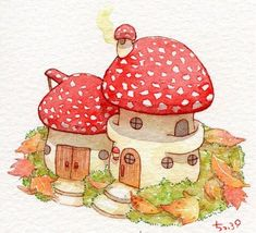 The Faerie Folk: Photo Illustration Inspiration, Cute Illustration, Kawaii Drawings, Cute Drawings, Pretty Art, Cute Art, Mushroom Art, Mushroom Drawing, Arte Sketchbook