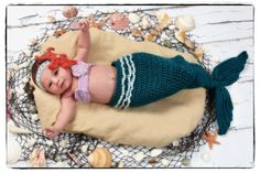 Crochet Mermaid Tail Photo Prop Set  Newborn to 3 by janetlynnebl, $30.00