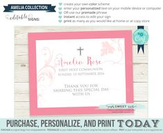 EDITABLE Sign for Religious Celebrations Use corjl to change color scheme and edit text. AMELIA collection Baptism Communion Christening