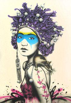 Fin DAC-Killer Instinct (Neon Pink) - Stencil, spray and axylic on 61 x 92 cm linen canvas