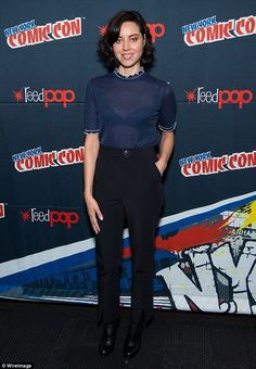 Sheer daring: Aubrey Plaza flashed her bra in a see-through top at day four of the 2016 Ne...
