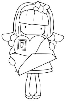 Cute girl from Whimsie Doodles joan walsh aglund Colouring Pages, Adult Coloring Pages, Coloring Books, Embroidery Patterns, Hand Embroidery, Pocket Letter, Cute Images, Digi Stamps, Copics