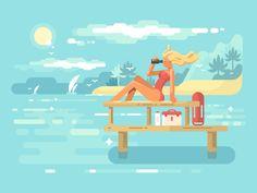 Female+Lifeguard+looking+through+binoculars+flat+vector+illustrationVector+files,+fully+editable.