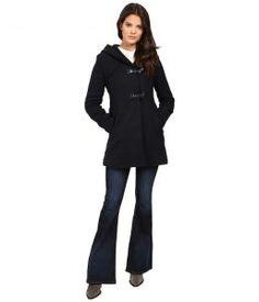 Jessica Simpson Braided Wool Duffle Coat with Hood (Navy) Women's Coat