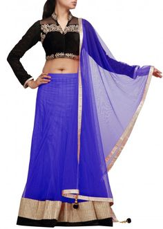 Blue and black lehenga choli with lace