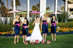 Love these maids in navy and pink.