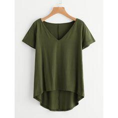 Shop Solid Dip Hem T-shirt online. SheIn offers Solid Dip Hem T-shirt & more to fit your fashionable needs. Plus Size Shirt Dress, Plus Size Shirts, Plus Size Tops, Hooded Dress, Belted Dress, T Shirt Uni, Circle Dress, Combo Dress, Latest T Shirt