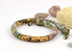 Real African adventure  Bead Crochet Necklace Yellow  by LeeMarina, $96.00