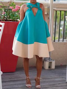 African Fashion Sleeveless Backless Color Block Womens Day Dress - Look Fashion Prom Dress Shopping, Online Dress Shopping, Shopping Sites, African Fashion Dresses, African Dress, Look Fashion, Fashion Outfits, Dress Fashion, Cheap Fashion