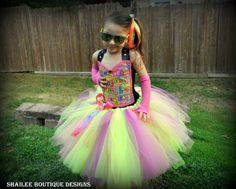 Love & peace Tutu dress and ponytail holderneon by ShaileeBoutique