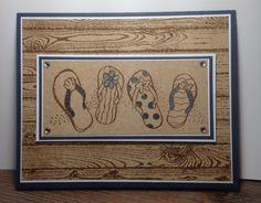 Beach inspired card using Stampin Up 'hardwood stamp' and Kaszazz 'Aussie thong border'