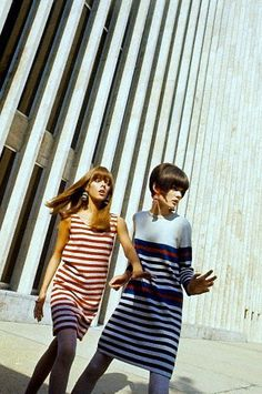 Two models (Linda Morand, right) in striped dresses by Geist and Geist photographed by David McCabe, Lincoln Center 1966
