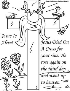 Jesus is Alive - cross with happy birds & flowers coloring sheet